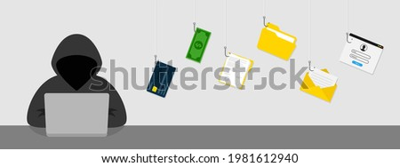 Hacking concept. Personal information and credit card detail. Foto stock ©