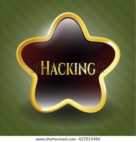 Hacking golden badge or emblem