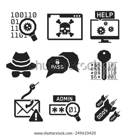 hacking icons set 02    bw