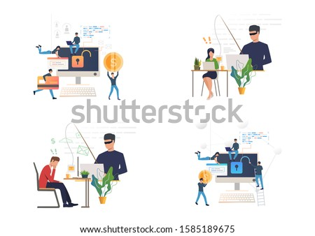 Hacking or phishing set. Hacker stealing email and credit card data. Flat vector illustrations. Cybercrime, attack concept for banner, website design or landing web page Stock photo ©