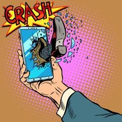 Hacking the phone, concept. Leg breaks smartphone screen. Pop art retro vector illustration comic cartoon kitsch drawing