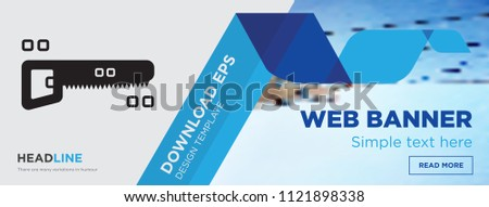 Hacksaw concept horizontal webpage banner template design on abstract background with flat modern isolated vector icon and geometric shapes, Hacksaw icons