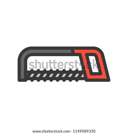 Hacksaw, handyman tool filled outline icon