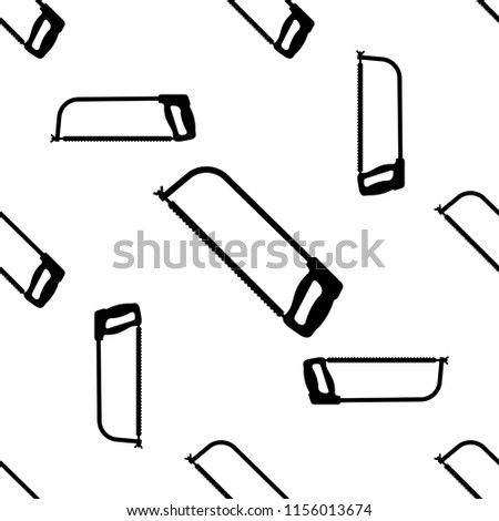 Hacksaw Isolated Icon Seamless Pattern Vector Art Illustration