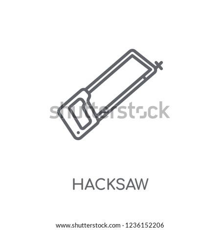 Hacksaw linear icon. Modern outline Hacksaw logo concept on white background from Construction collection. Suitable for use on web apps, mobile apps and print media.