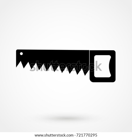 Hacksaw or hand saw symbol isolated on background. Modern flat pictogram, business, marketing, internet. Trendy Simple vector symbol for web site design or button to mobile app. Logo illustration