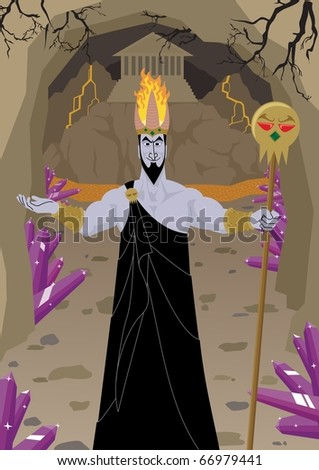 Hades: Hades / Pluto, lord of the Underworld, welcomes you to his estates. No transparency used.