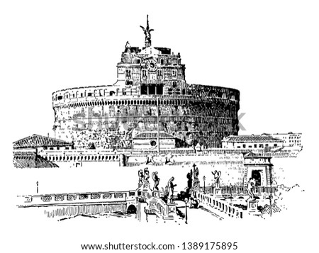 Hadrian's Tomb,  the Roman Emperor Hadrian, in Rome,  Roman Catholic architecture, vintage line drawing or engraving illustration.