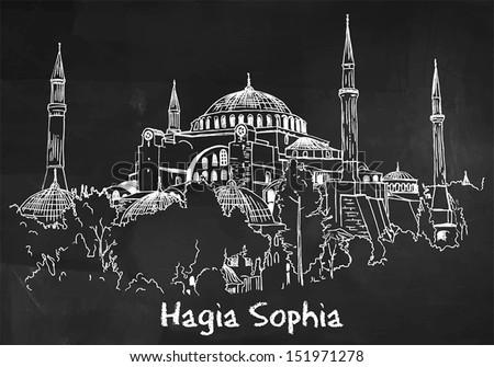 hagia sophia drawing on the