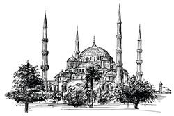 Hagia Sophia, Istanbul. Hand drawn illustration