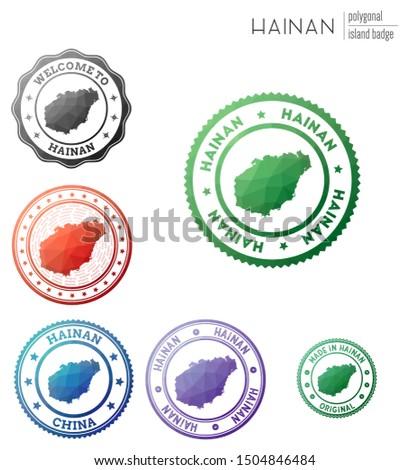 Hainan badge. Colorful polygonal island symbol. Multicolored geometric Hainan logos set. Vector illustration.