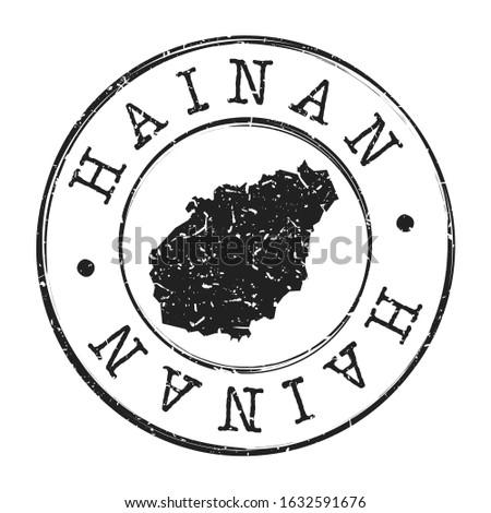 Hainan China Map Postmark. Silhouette Postal Passport. Stamp Round Vector Icon. Vintage Postage Design.