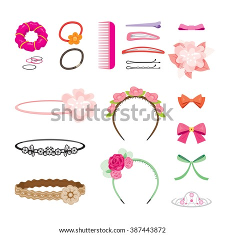 Hair Accessories Object Set, Headband, Comb, Hairpin, Elastic