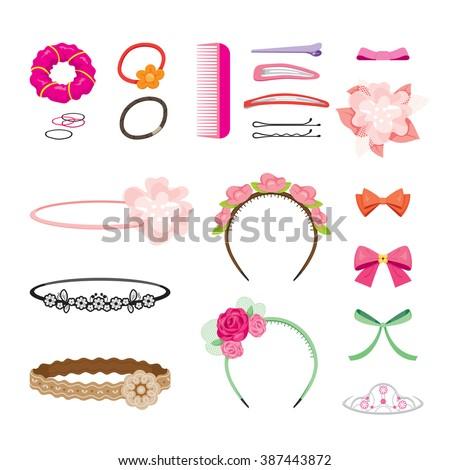 Hair Accessories Object Set, Headband, Comb, Hairpin, Elastic