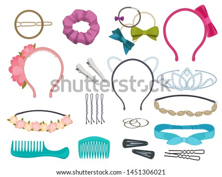 Hair accessories. Woman hair items stylist salon flowers elastic bands bows hoops vector cartoon illustrations. Illustration of hair accessories, accessory for care and clip hairnine,