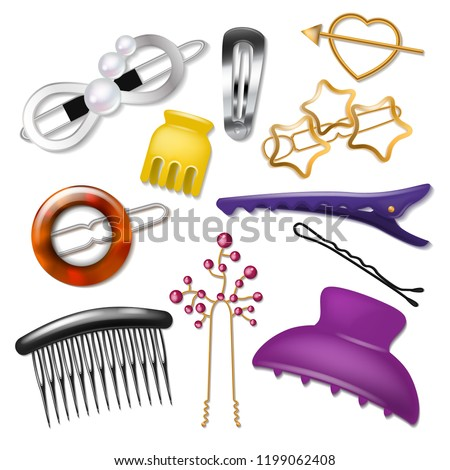 Hair accessory vector hairpin or hair-slide and hair-clip ponytailer for girlish hairstyle illustration fashion realistic set of hairgrip or hairdressing accessories isolated on white background