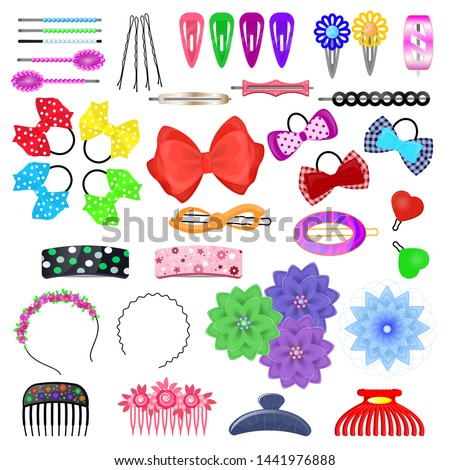Hair accessory vector kids hairpin or hair-slide and hair-clip ponytailer for girlish hairstyle illustration beauty fashion set of hairgrip or hairdressing accessories isolated on white background Stockfoto ©