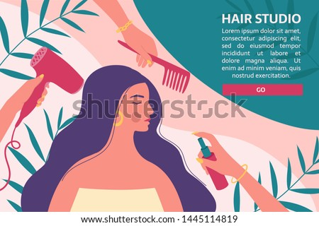 Hair and beauty salon banner, flyer, voucher. Hairdressers with professional tools care about long woman's hair and hairstyle on the abstract background.