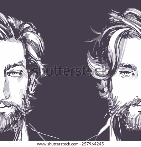 Hair. Beard.  Beautiful Brunette Man. Healthy Long Hair. Beauty Model Male. Hairstyle. Hair care. Barber shop badges and design elements. Black and White.