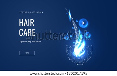 Hair care keratin or serum concept in polygonal futuristic style for landing page. Vector illustration of medical or spa procedures for hair follicles from brittleness, hair damage