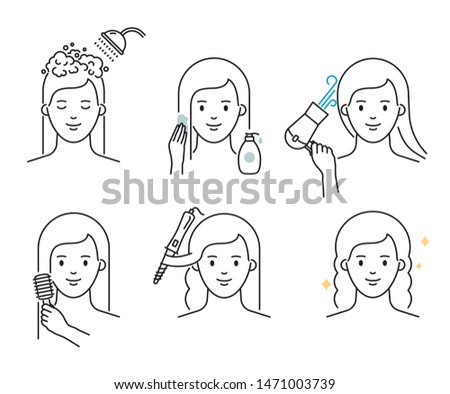 Hair care routine: washing, mask applying, drying, brushing, styling, curling vector illustration outline style
