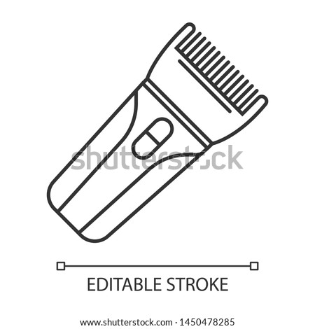 Hair clipper linear icon. Electric hair trimmer. Haircutting machine. Professional man hairstyling. Thin line illustration. Contour symbol. Vector isolated outline drawing. Editable stroke