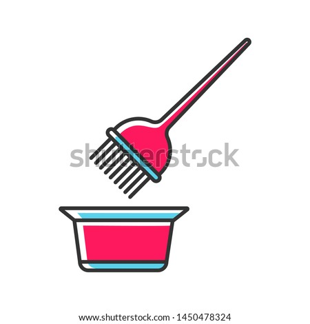 Hair coloring tools color icon. Tint mixing bowl and hair dye brush. Hairdressing instruments. Professional hairstyling. Hairstylist accessories. Isolated vector illustration