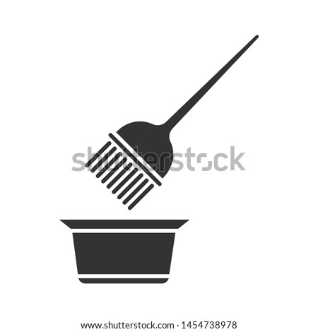 Hair coloring tools glyph icon. Tint mixing bowl and hair dye brush. Hairdressing instruments. Professional hairstyling. Silhouette symbol. Negative space. Vector isolated illustration