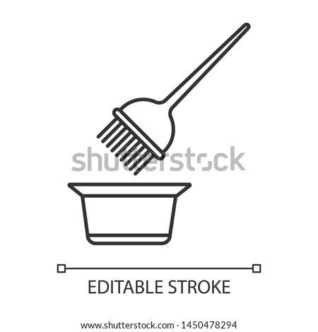 Hair coloring tools linear icon. Tint mixing bowl and hair dye brush. Hairdressing instruments. Hairstyling. Thin line illustration. Contour symbol. Vector isolated outline drawing. Editable stroke