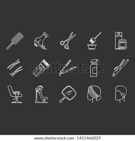 Hair dress glyph icons set. Professional hairstyling. Hairdresser tools, equipment and services. Barbershop, beauty salon maintenance. Hair care. Silhouette symbols. Vector isolated illustration