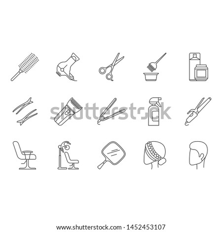 Hair dress linear icons set. Professional hairstyling. Hairdresser tools, equipment, services. Barbershop. Hair care. Thin line contour symbols. Isolated vector outline illustrations. Editable stroke