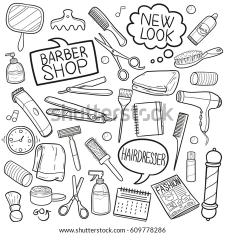 Hair dress Salon Barber Shop Doodle Icon Beauty and Care Sketch Scribble Design Art Set
