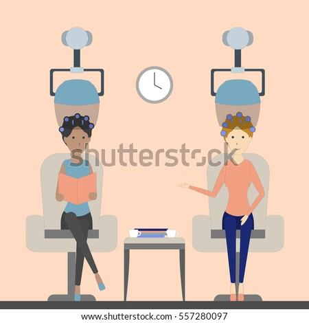 hair dry in salon two women