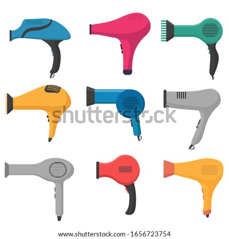 Hair dryer icon. Symbol for drying hair. Hair dryer on a white background. Hairdryer icon in cartoon style. Vector illustration, EPS 10.