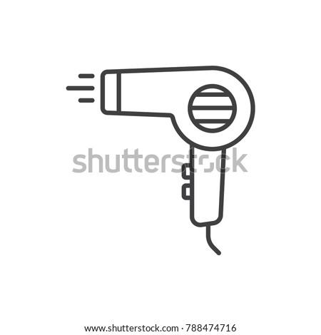 Hair dryer line icon.