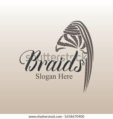 Hair extension girl braids style logo vector design Stock photo ©
