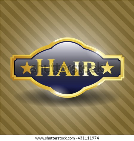 Hair golden badge or emblem