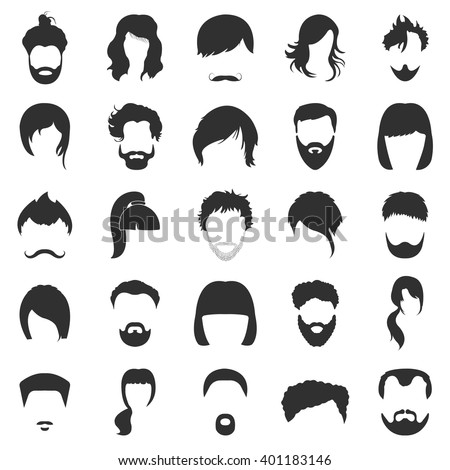 hair icons set