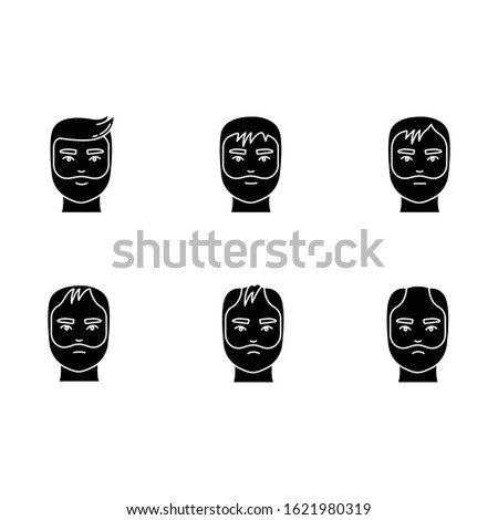Hair loss black glyph icons set on white space. Baldness process stages. Male alopecia conditions.Hair thinning. Dermatology problem with scalp. Silhouette symbols. Vector isolated illustration