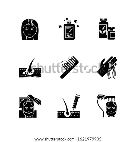 Hair loss black glyph icons set on white space. Male alopecia and female balding. Laser therapy for hair regrowth. Injection and transplantation. Silhouette symbols. Vector isolated illustration