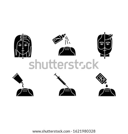 Hair loss black glyph icons set on white space. Male alopecia. Female balding. Haircare, dermatology treatment. Products for hairloss. Medical spray. Silhouette symbols. Vector isolated illustration