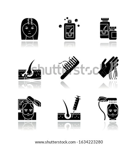 Hair loss drop shadow black glyph icons set. Male alopecia and female balding. Laser therapy for hair regrowth. Thinning hairline. Follicle, scalp skin. Isolated vector illustrations on white space