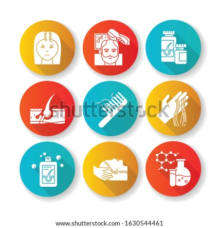 Hair loss flat design long shadow glyph icons set. Male alopecia and female balding. Trihoscopy diadnosis. Thinning hairline. Medicament, shampoo. Silhouette RGB color illustration