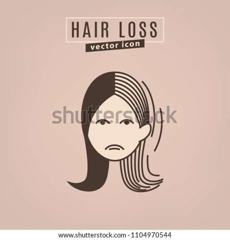 Hair loss icon. Vector illustration in flat style isolated on a beige background. Beauty, dermatology and health care concept in brown colors.