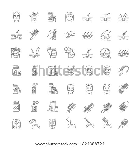 Hair loss pixel perfect linear icons set. Baldness and alopecia treatment. Laser therapy. Shampoo. Customizable thin line contour symbols. Isolated vector outline illustrations. Editable stroke