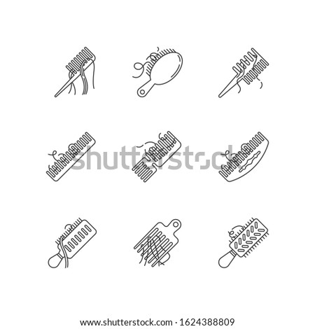 Hair loss pixel perfect linear icons set. Comb with hair. Stress symptom. Dermatology, cosmetology. Customizable thin line contour symbols. Isolated vector outline illustrations. Editable stroke