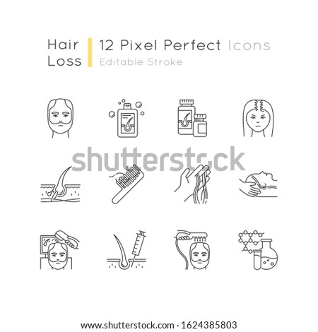 Hair loss pixel perfect linear icons set. Hair roots. Alopecia treatment. Hair strands on hand and comd. Customizable thin line contour symbols. Isolated vector outline illustrations. Editable stroke
