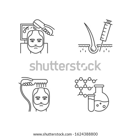 Hair loss pixel perfect linear icons set. Laser therapy. Medical injection for alopecia. Customizable thin line contour symbols. Isolated vector outline illustrations. Editable stroke