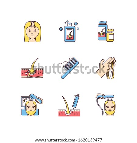 Hair loss RGB color icons set. Male alopecia and female balding. Laser therapy for hair regrowth. Thinning hairline. Follicle, scalp skin. Injection and transplantation. Isolated vector illustrations