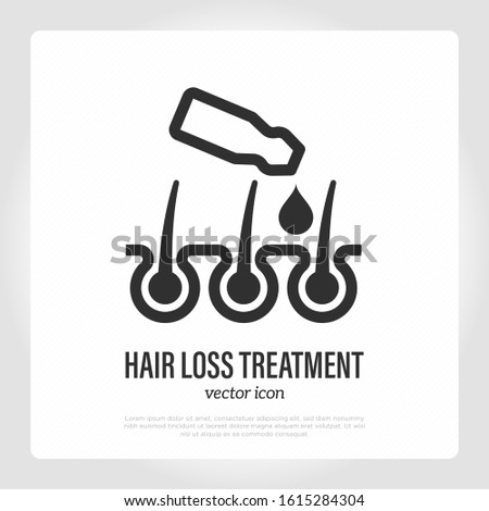 Hair loss treatment thin line icon. Ampoule drops in hair follicle. Alopecia prevention. Trichology. Healthcare and medical vector illustration.